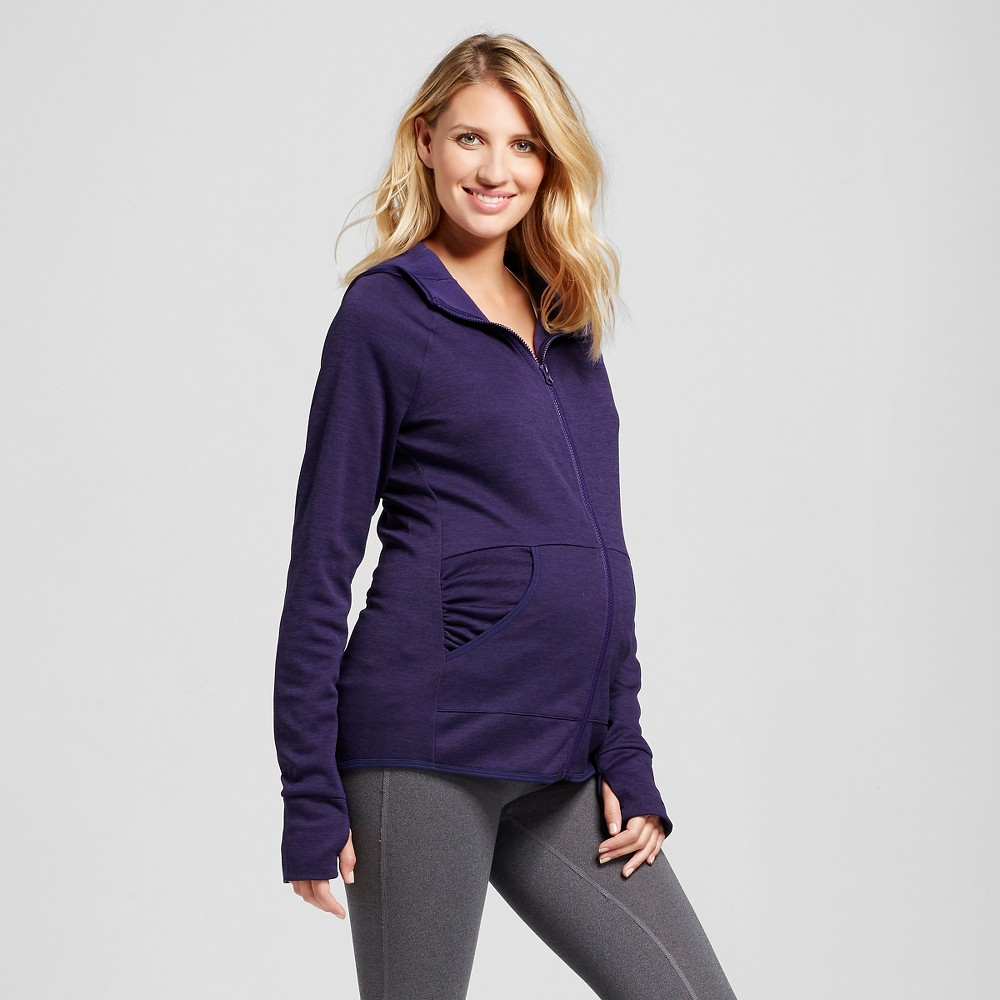 Womens Maternity Tech Fleece Full Zip Hoodie - C9 Champion Stately Purple Heather XL