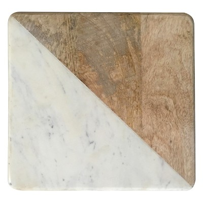 Square Chopping Board Wood/Marble - Threshold™