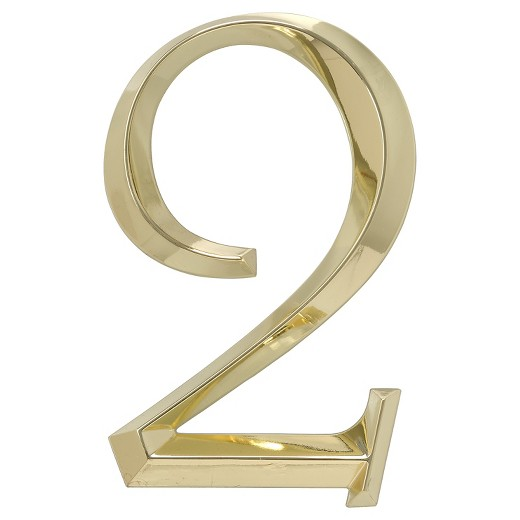 6 classic house number 2 polished brass whitehall for Classic house numbers