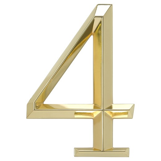 6 classic house number 4 polished brass whitehall for Classic house numbers