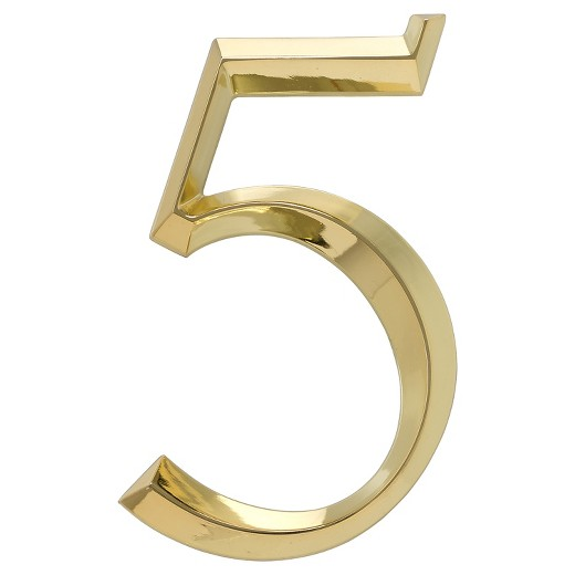 6 classic house number 5 polished brass whitehall for Classic house numbers