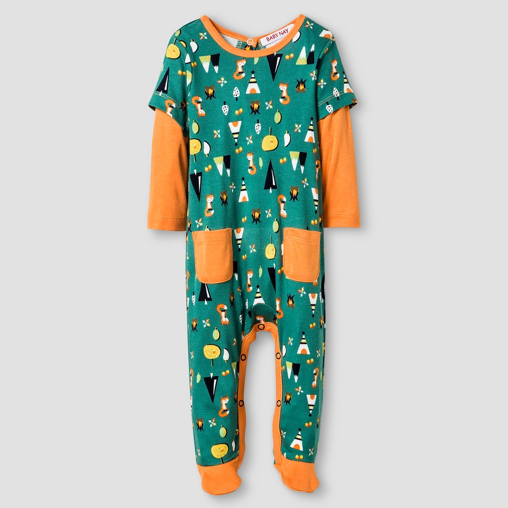 Baby Nay Baby Boys' Campfire Friends Long Sleeve Footed Sleeper – Orange 9M, Infant Boy's, Size: 9 M, Green
