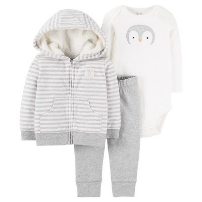 Just One You™ Made by Carter's® Baby Boys' 3pc Fleece Cardigan Set - Striped Hooded Penguin 9M