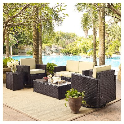 Crosley Palm Harbor 5 Piece Outdoor Wicker Conversation Set   Loveseat, Two  Swivel Chairs, Side Table And Glass Top Table