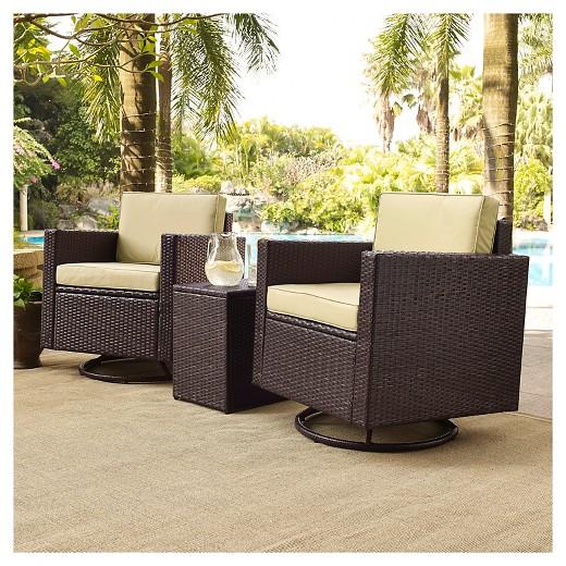 $909.99 - Crosley Palm Harbor 3-Piece Outdoor Wicker Conversation Set - Two