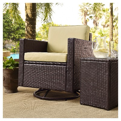 Crosley Palm Harbor 3 Piece Outdoor Wicker Conversation Set   Two Swivel  Chairs And Side Table