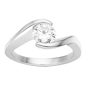 1.00 CT. T.W. Forever Brilliant Round Moissanite Bezel Set Ring in 14K White Gold - (5), Women