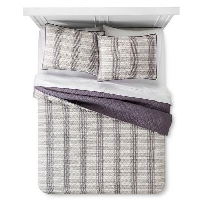 Arman Striped Quilt and Sham Set (King)Tan 3-Piece - Beekman 1802 FarmHouse™
