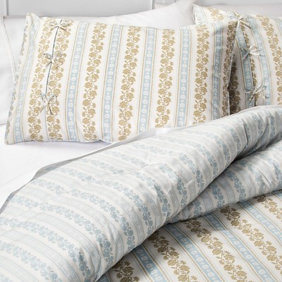 Canary Jane Reversible Comforter and Sham Set (King) Blue 3-Piece - Beekman 1802 FarmHouse