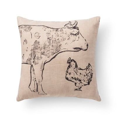 Beige Pioneer Cow Burlap Throw Pillow (20 X20 )- Beekman 1802 Farmhouse™