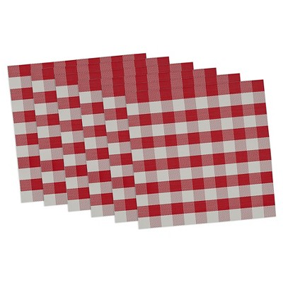 Red Checkers Placemat Red(Set Of 6)- Design Imports