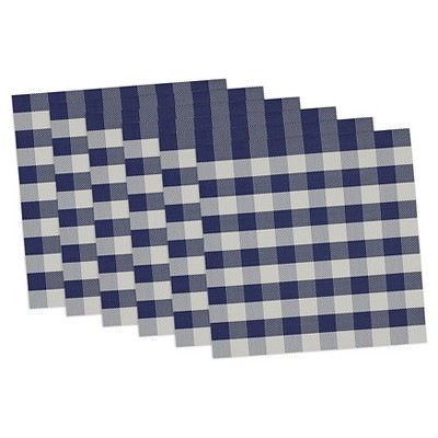 Blue Checkers Placemat (Set Of 6)- Design Imports
