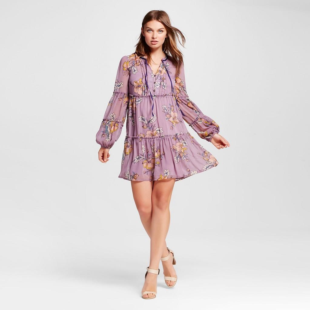 Target Women's Floral Tiered Dress Lilac - Xhilaration™ (Juniors')