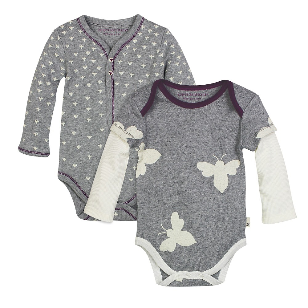 Burt's Bees Baby 2 Pack Bodysuits – Grey 12M, Infant Girl's, Size: 12 M, Gray