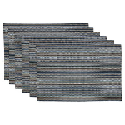 Blue Micro Stripe Placemat (Set Of 6)- Design Imports