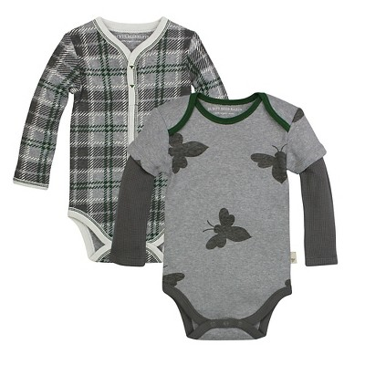 Burt's Bees Baby™ 2 Pack Bodysuits - Plaid/Bee 3-6M