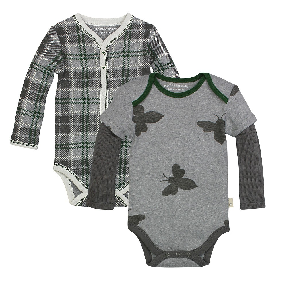 Burt's Bees Baby 2 Pack Bodysuits – Plaid/Bee 18M, Infant Boy's, Size: 18 M, Gray