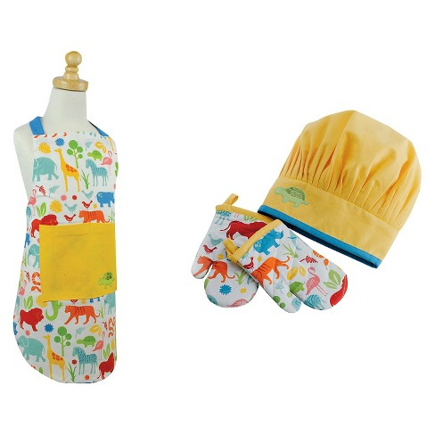 Zoo Children's Apron And Chef Gift Set Yellow - Design Imports - image 1 of 1