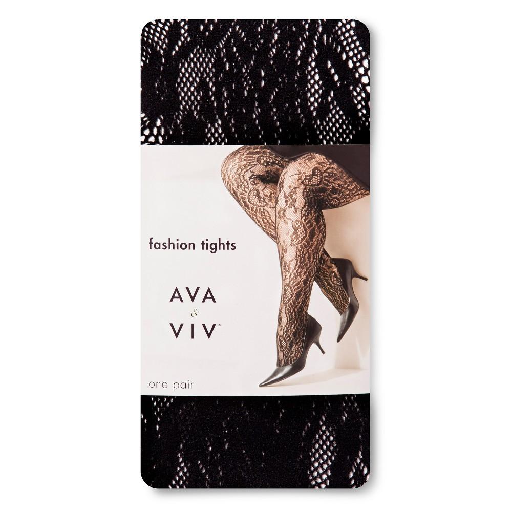 Womens Plus-Size Tights - Ava & Viv - Black Floral Lace 2X