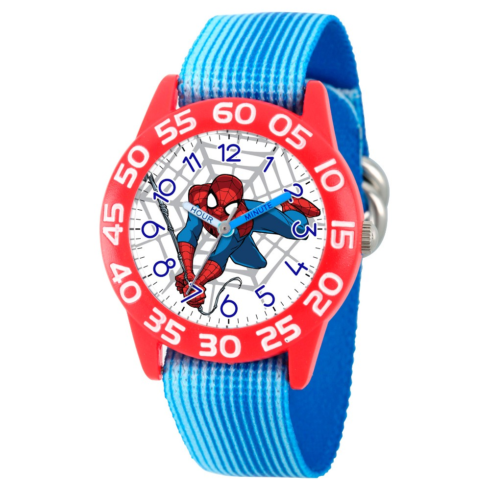 Boys' Marvel's Ultimate Spider-Man Red Plastic Time Teacher Watch - Blue