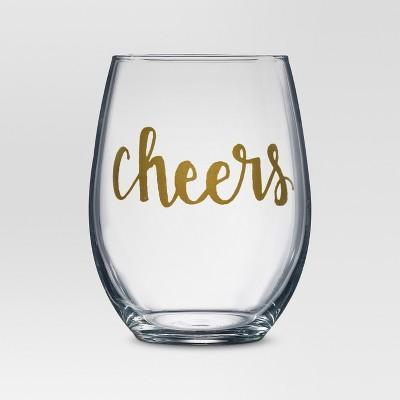 4pc cheers stemless wine glasses threshold - Plastic Stemless Wine Glasses