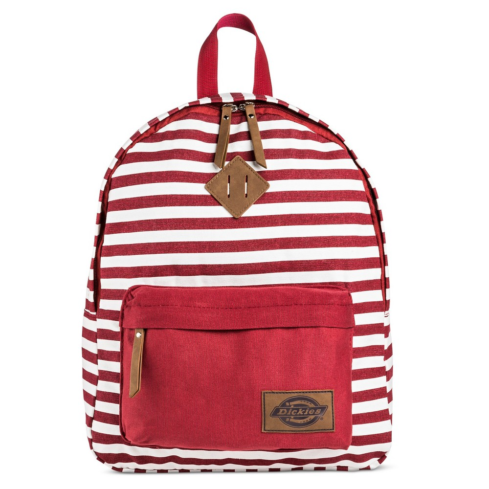 Dickies Womens Canvas Backpack Handbag with Stripes and Zip Closure - Red