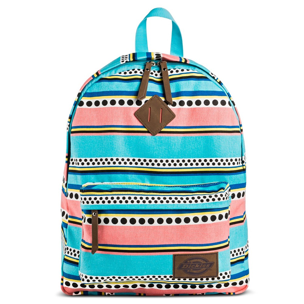 Dickies Womens Canvas Backpack Handbag with Stripes and Zip Closure - Mint (Green)