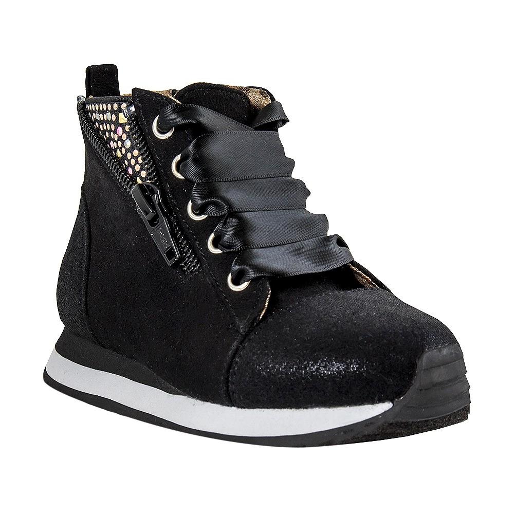Toddler Girls' Just Buds Ribbon Comfort Sneakers - Black 11