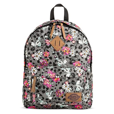 Dickies Women's Canvas Backpack Handbag with Floral Design and Zip Closure  - Gray
