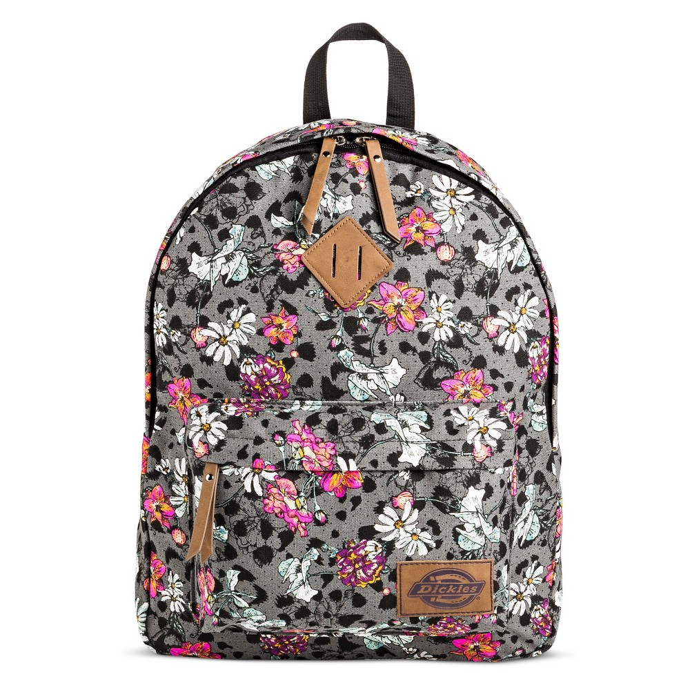 Dickies Womens Canvas Backpack Handbag with Floral Design and Zip Closure - Gray