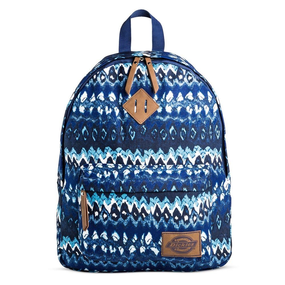 Dickies Womens Canvas Backpack Handbag with Ikat Design and Zip Closure - Gray, Blue