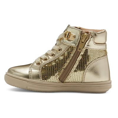 Toddler Girls' Rachel Shoes Retro Jogger Sneakers - Gold Sequins 12, Toddler Girl's