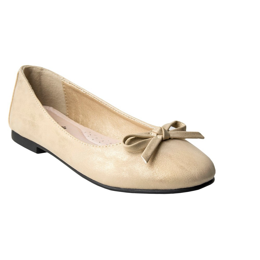 Girls Just Buds Aly Mary Jane Ballet Flats - Assorted Colors, Size: 3, Gold Shimmer