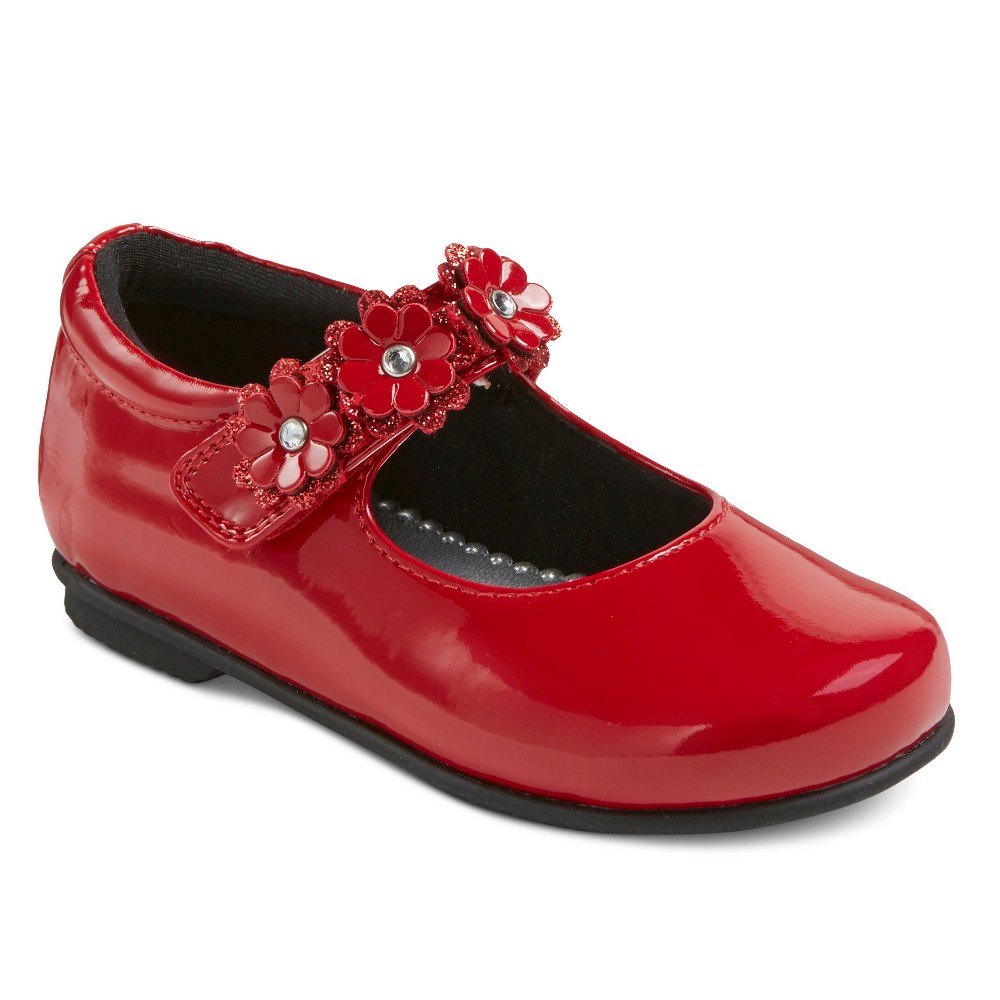 Toddler Girls Rachel Shoes Patent Mary Jane Ballet Flats - Red Patent 5