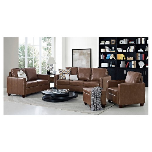 Square arm bonded leather living room collection for P square living room