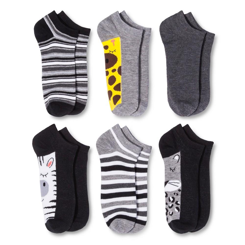 Women's 6pk Low-Cut Socks Zoo Animals - Xhilaration Black One Size