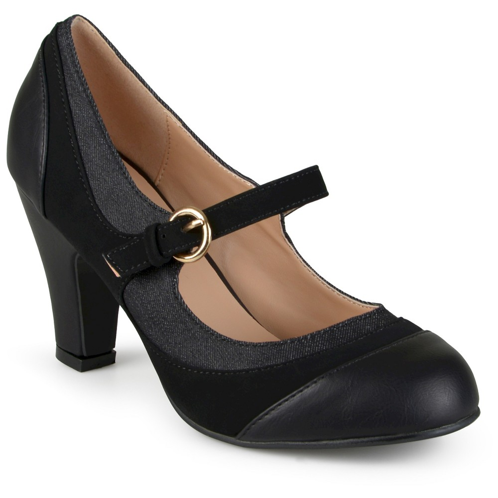 Womens Journee Collection Siri Two-Tone Tweed Mary Jane Pumps - Black 7.5