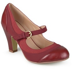 Women's Journee Collection Siri Two-Tone Tweed Mary Jane Pumps - Wine 7