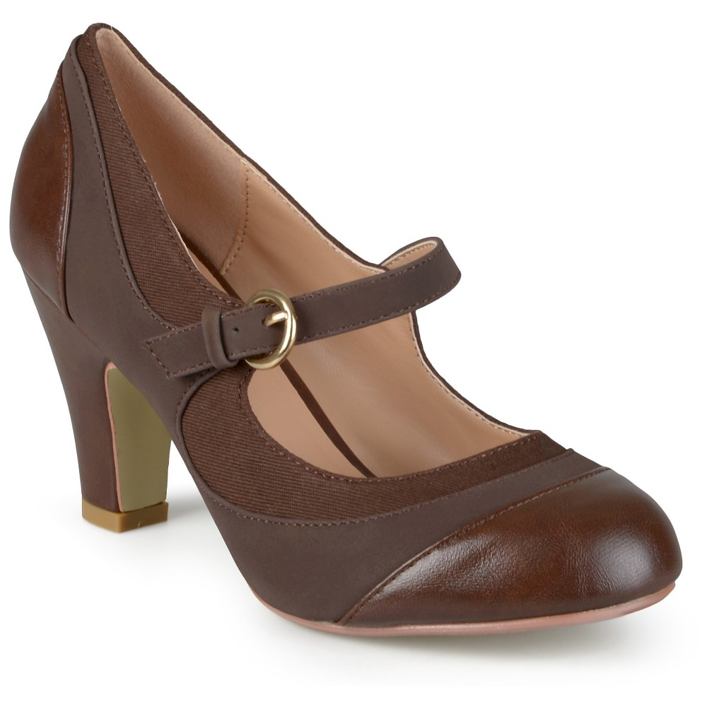 Womens Journee Collection Siri Two-Tone Tweed Mary Jane Pumps - Brown 6