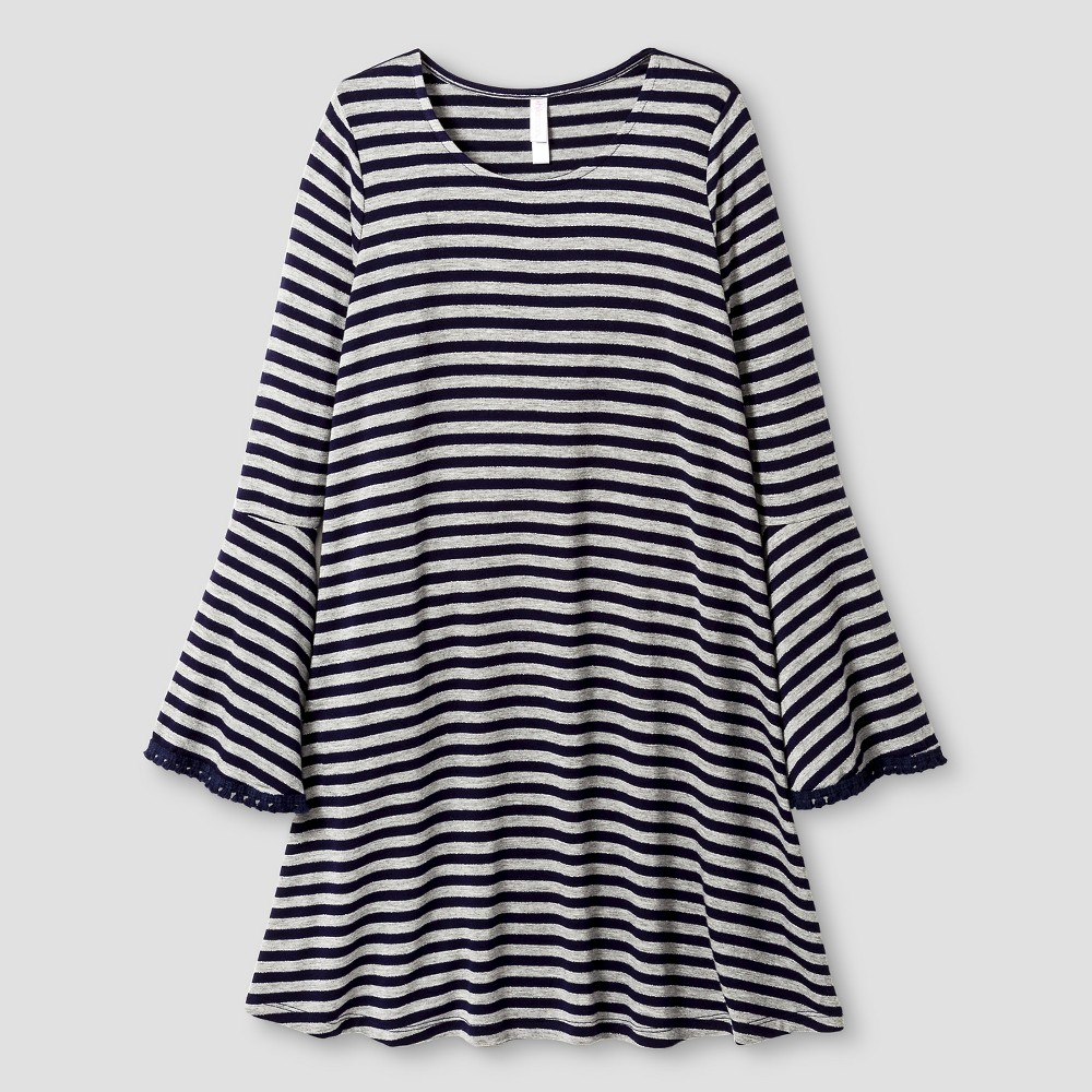 Girls' Bell Sleeve Knit Dress Grey Stripe – Xhilaration, Girl's, Size: Small, Gray
