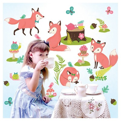 Woodland Tea Party Wallplay Peel & Stick Wall Decal 2 Sheets - Wallies®