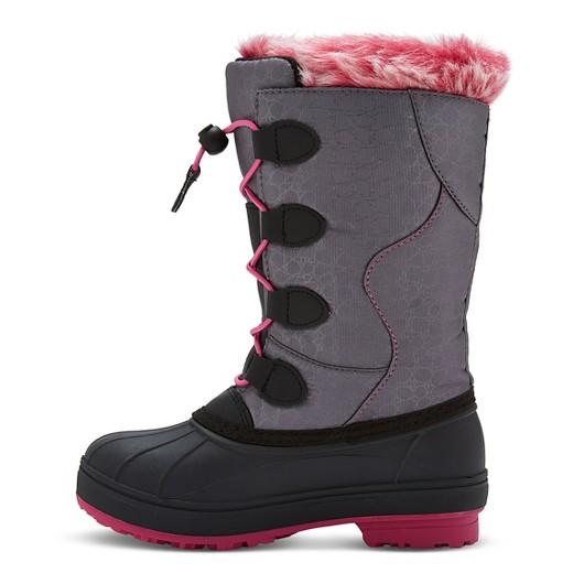 Arctic Cat Girls' Snowcharm Winter Boots - Gray/Pink : Target