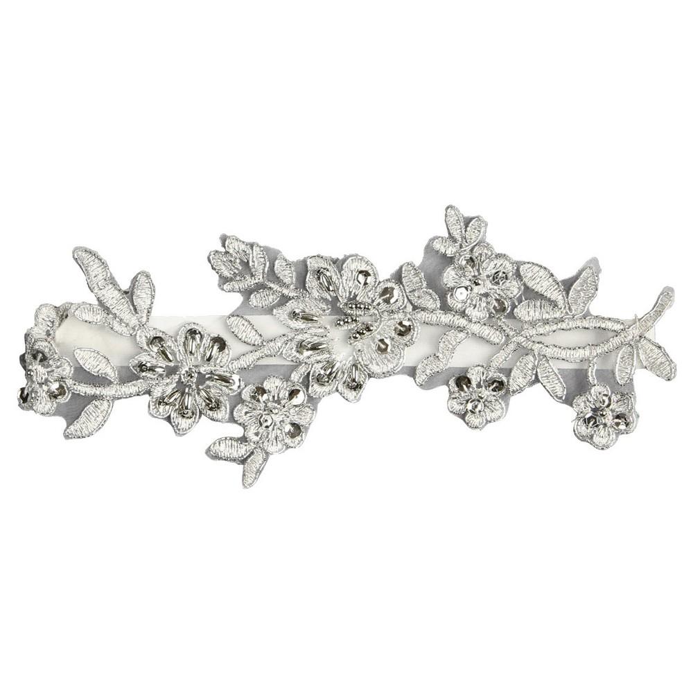 Violet Silver Garter Belts, Womens, Light Silver