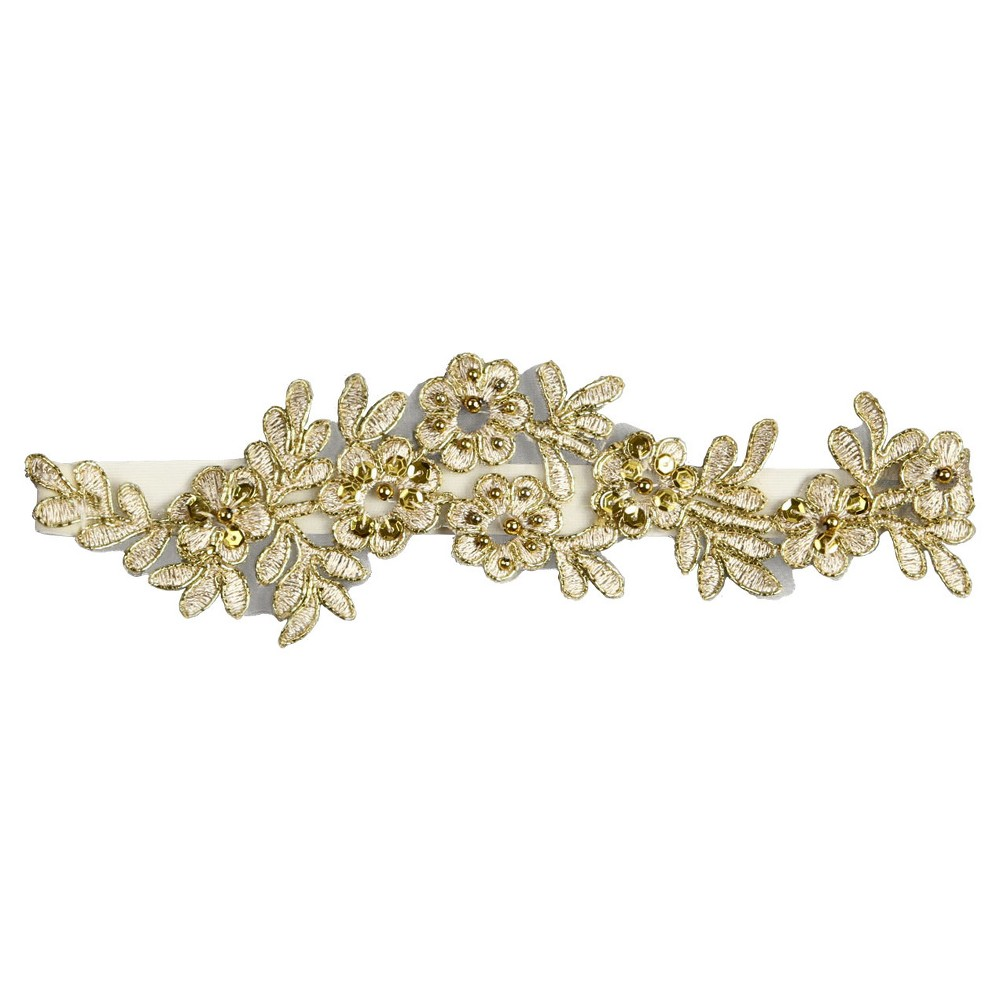 Cora Gold Garter Belts, Womens, Medium Gold