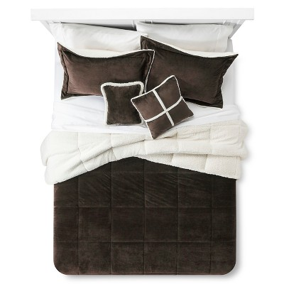 Solid Velvet with Sherpa Reverse Comforter Set (King)5-Piece - Chocolate Brown