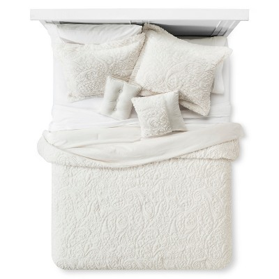 Embroidered Long Faux Fur Coverlet Set (King)5-Piece - Ivory