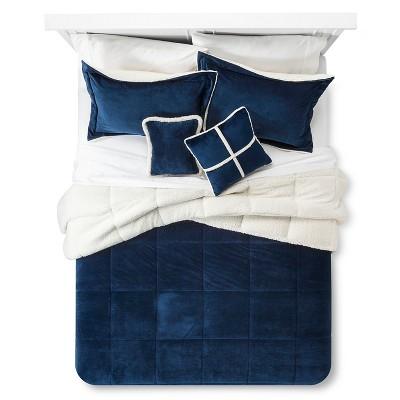 Solid Velvet with Sherpa Reverse Comforter Set (Queen)5-Piece - Navy