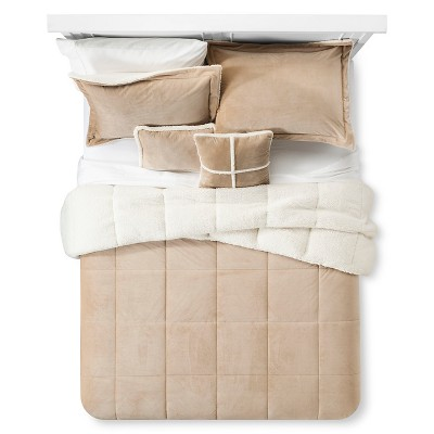 Solid Velvet with Sherpa Reverse Comforter Set (Queen)5-Piece - Khaki
