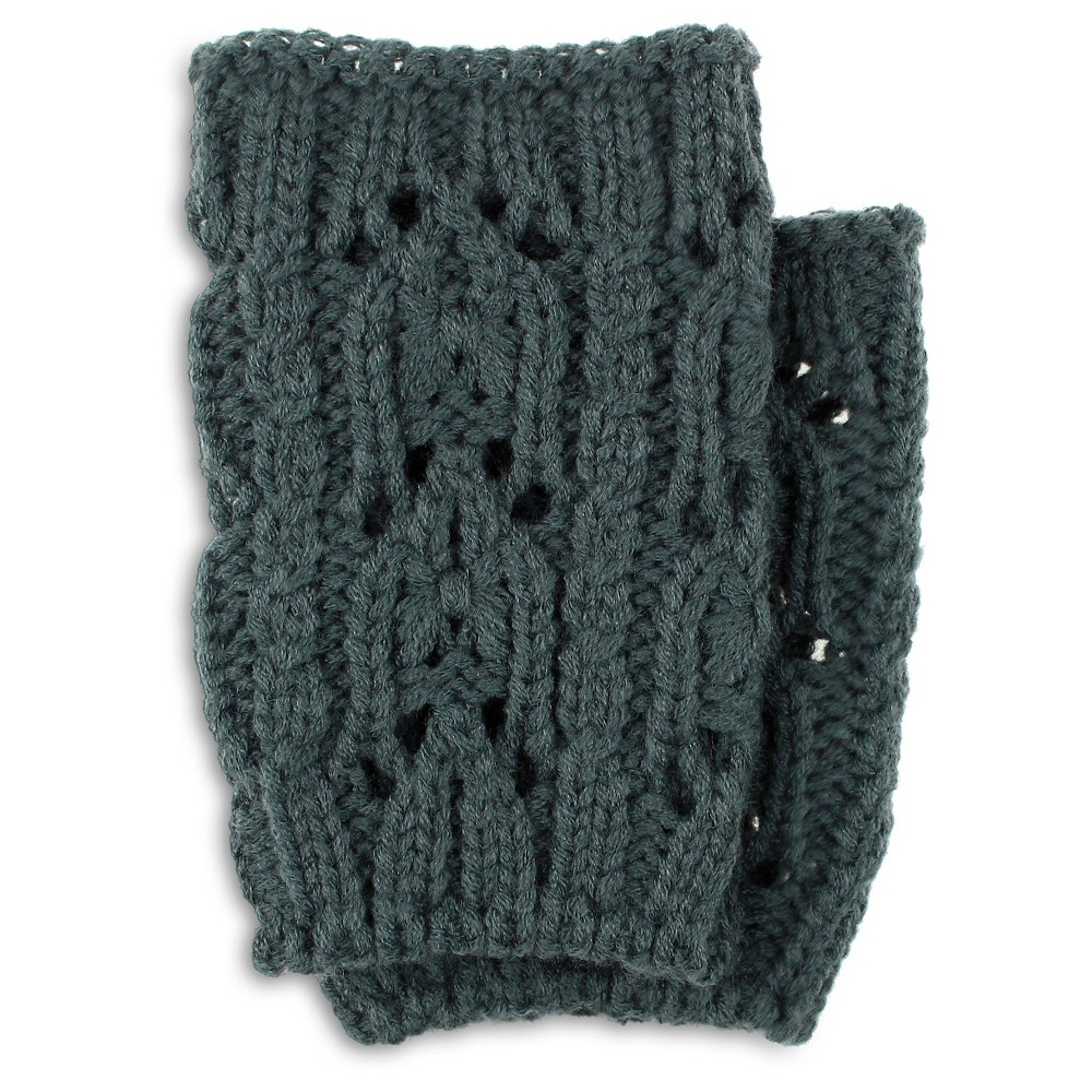 Charlotte Womens Chunky Open Stitch Cable Boot Cuff - Dark Gray One Size