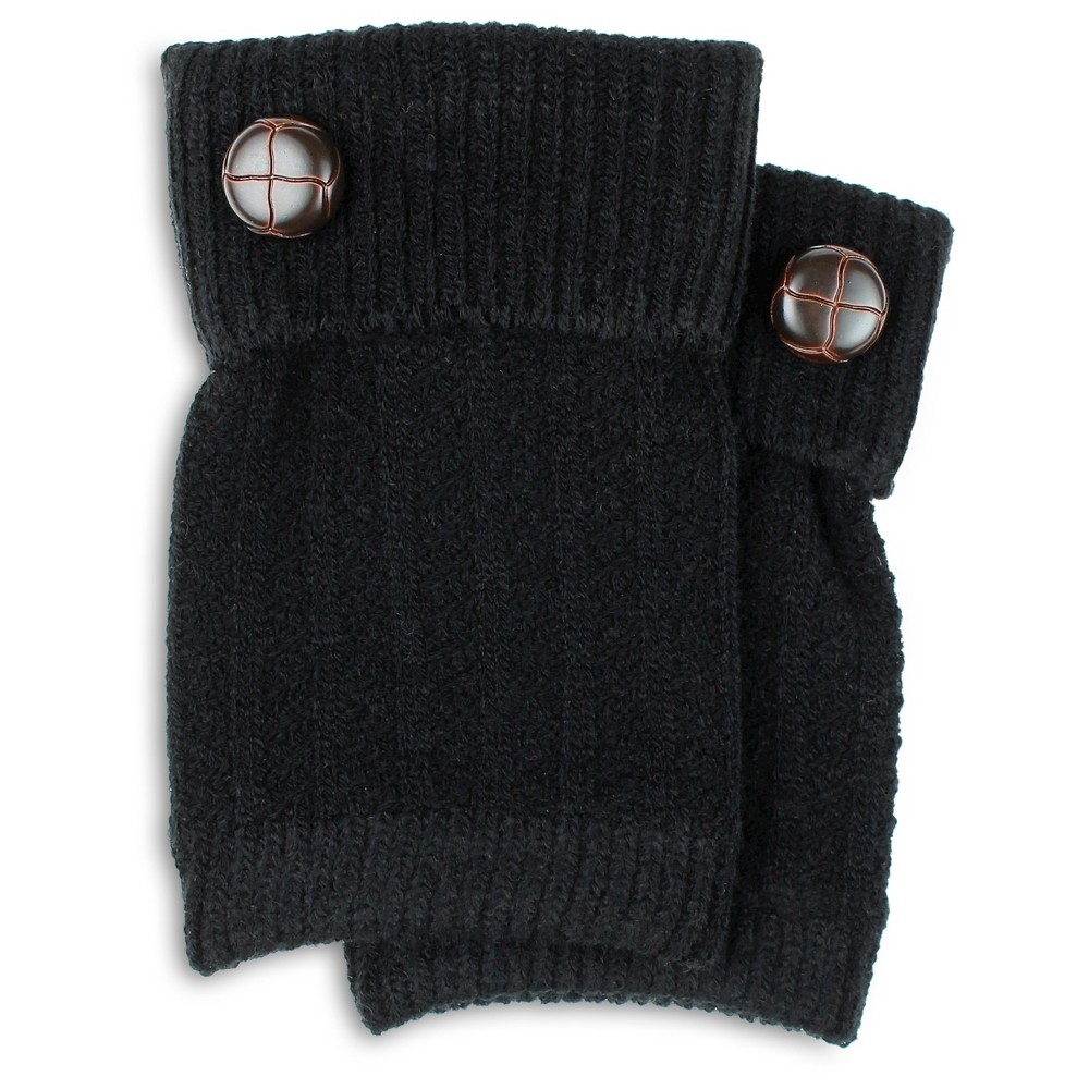 Charlotte Womens Basket Stitch Boot Cuff with Button - Black One Size